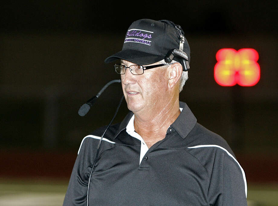 Everman head coach Dale Keeling keeps an eye on the offense as Everman played Southwest in high school football at Clark Field Thursday night September 05, 2013. Everman defeated Southwest 51-39. (Special to the Star-Telegram Bob Booth) Photo: Bob Booth