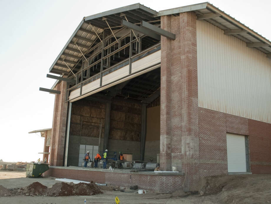 Construction continues on the Horseshoe Pavilion expansion where one of the main attractions will be a covered outdoor stage opening to large open air venue. Tim Fischer\Reporter-Telegram Photo: Tim Fischer