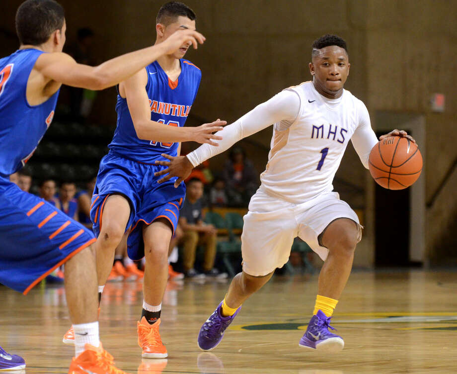 Midland High's Shawn Rivers takes the ball down the court against Canutillo during the Tall City Oilman's Invitational on Thursday at Chaparral Center. James Durbin/Reporter-Telegram Photo: James Durbin
