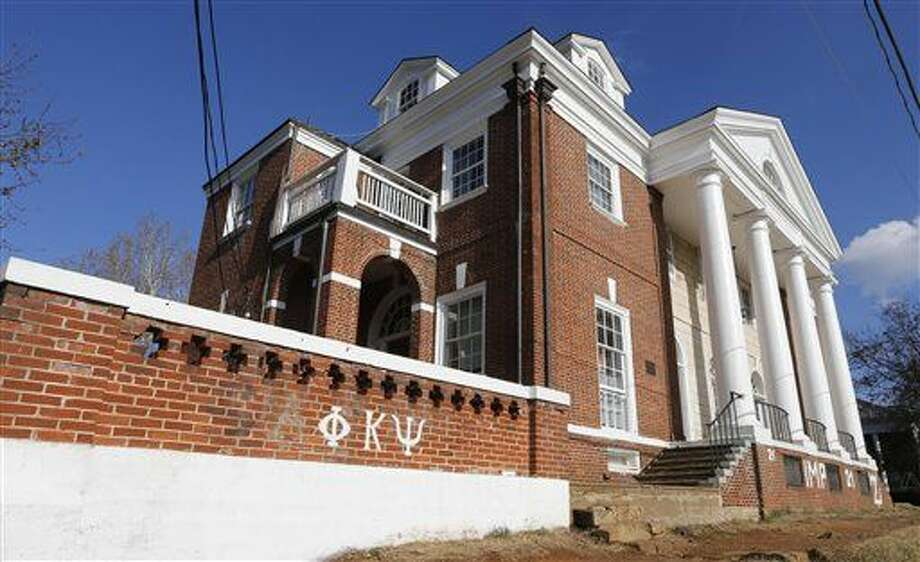 The Phi Kappa Psi fraternity house at the University of Virginia in Charlottesville, Va., Monday, Nov. 24, 2014. A Rolling Stone article last week alleged a gang rape at the house which has since suspended operations. (AP Photo/Steve Helber) Photo: Steve Helber