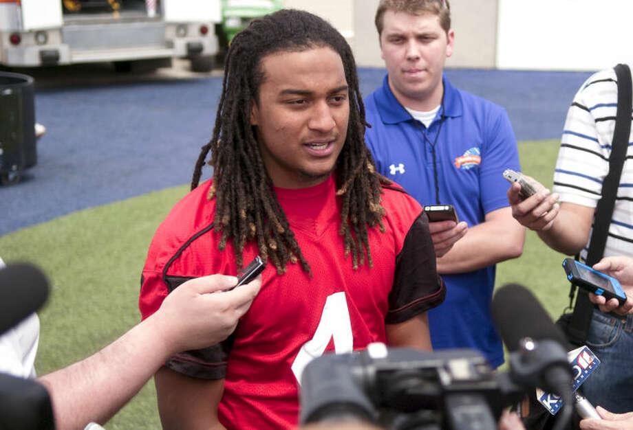 Bradley Marquez talks to the media after the Texas Tech spring football practice Saturday, April 6 at Grande Communications Stadium. James Durbin/Reporter-Telegram Photo: JAMES DURBIN