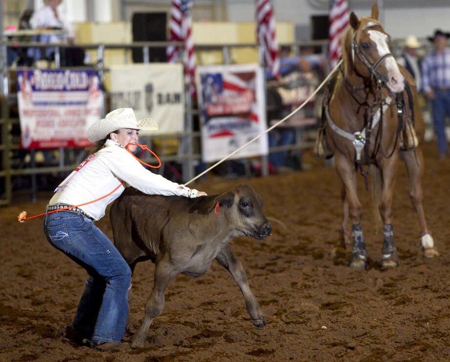 Courtney Stephens competes in the calf roping competition during the Professional Armed Forces Rodeo Association World Finals on Saturday at Horseshoe Arena. James Durbin/Reporter-Telegram Photo: James Durbin