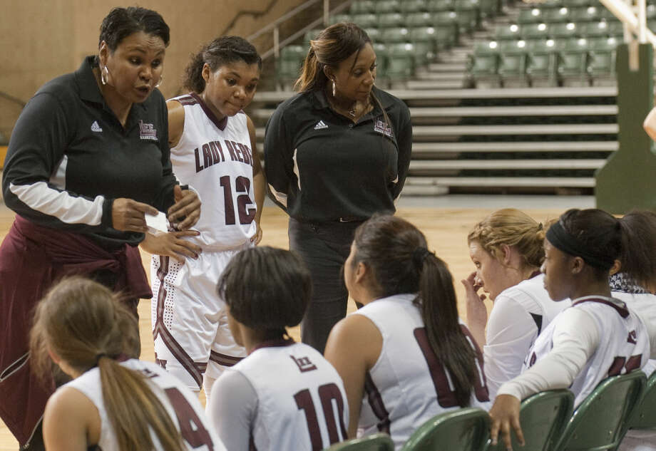 12-29-14 Lee High girls coach Monica Ramirez talks with her players during a timeout against Bushland Moday at the Byron Johnston Holiday Classic at the Chaparral Center. Tim Fischer\Reporter-Telegram Photo: Tim Fischer