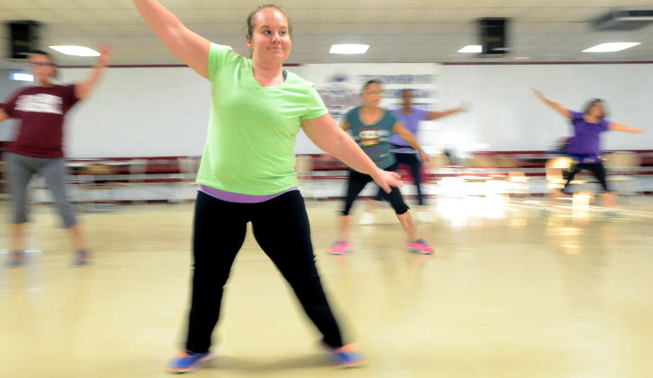 Nicole Manning, a teacher at Travis Elementary, goes to Zumba every week. Photographed at Zumba Class in the Lee High student center Dec. 17, 2014. James Durbin/Reporter-Telegram Photo: James Durbin
