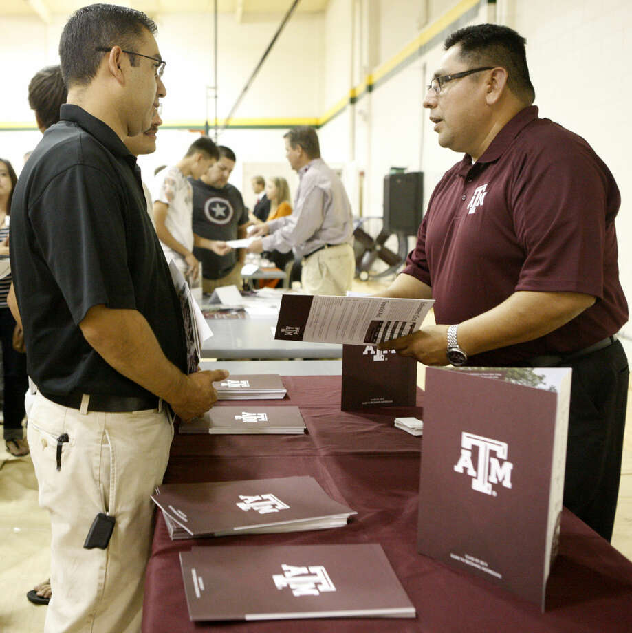 Representatives from Texas A&M meet with students during the annual college forum at Midland College on Thursday. James Durbin/Reporter-Telegram Photo: James Durbin