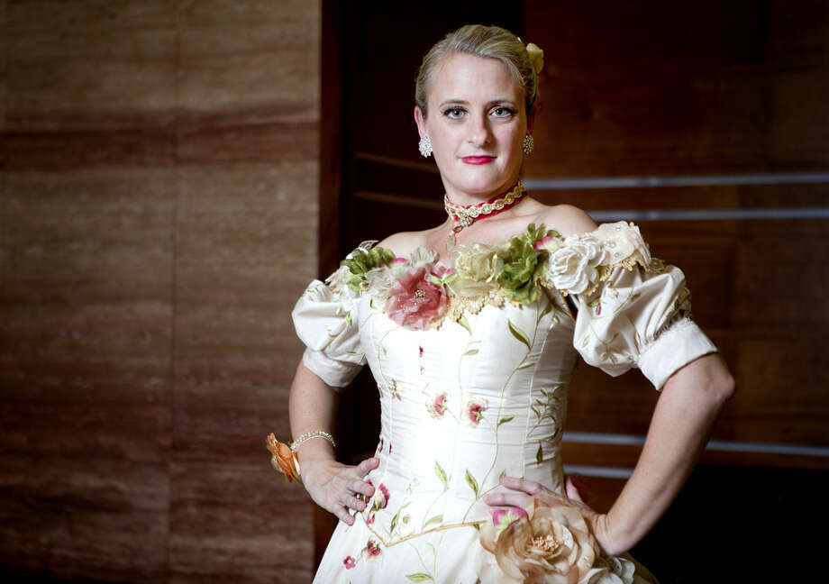 Polly Sutton displays her new costume Mrs. Stahlbaum at MFB's 'The Nutcracker.' Photo: James Durbin