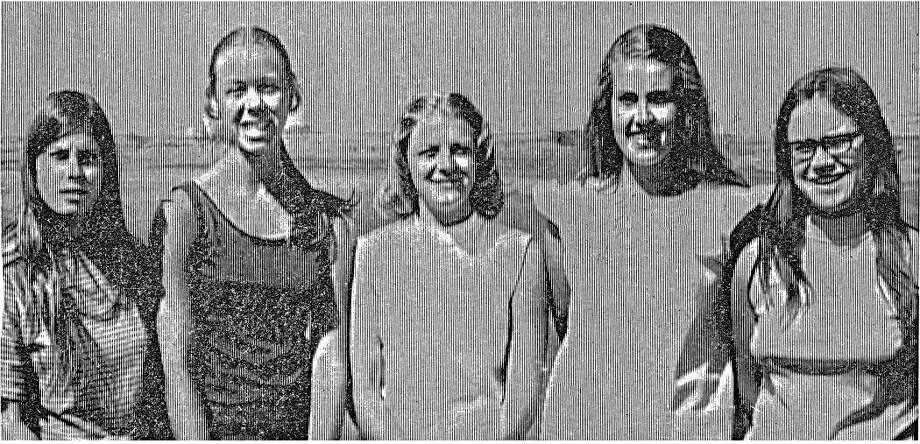 The 1973 Lee Girls Golf Team, from left to right Jan Lupardas, Pam St. Clair, Deborah Featherson, Martha Rowan and  Kappy McCollough​