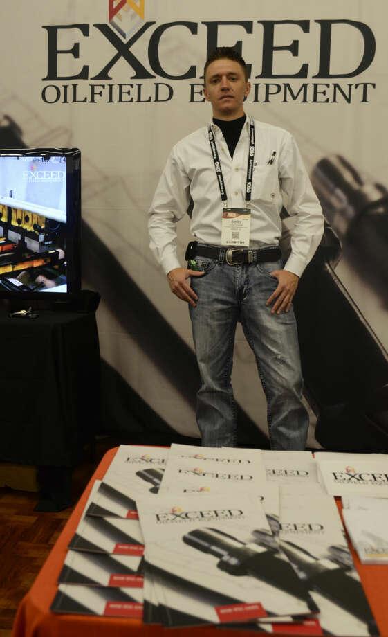 Cory Fletcher with Exceed Oilfield Equipment uses technology. Tim Fischer\Reporter-Telegram Photo: Tim Fischer