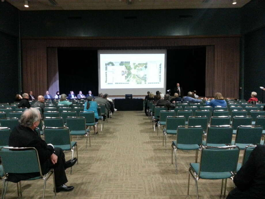 At a public meeting on Tuesday, Hotel Santa Rita No. 1 developers presented the project and took time to answer questions from the audience. Photo: Joseph Basco/Reporter-Telegram