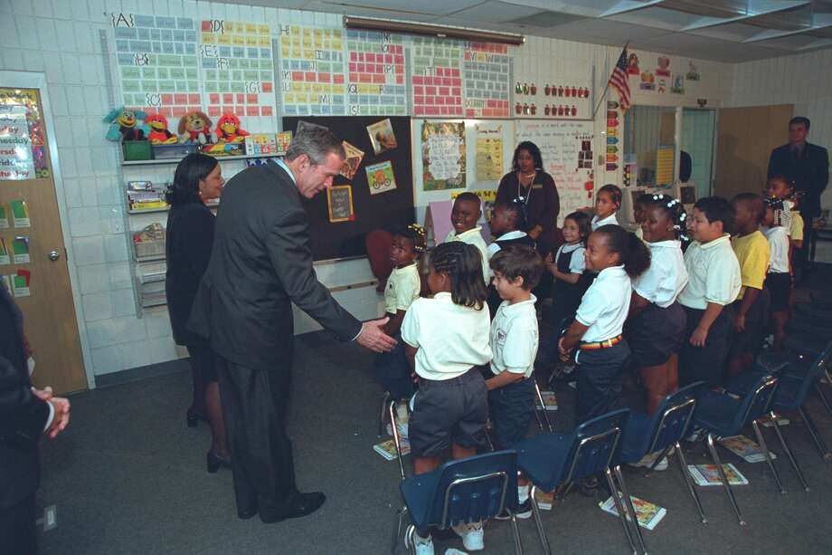 On the morning of Sept. 11, 2001, the president was visiting Emma E. Brooker Elementary School in Sarasota, Fla. when news of the attack on the World Trade Center broke. Photo: FRONTLINE And The Kirk Documentary
