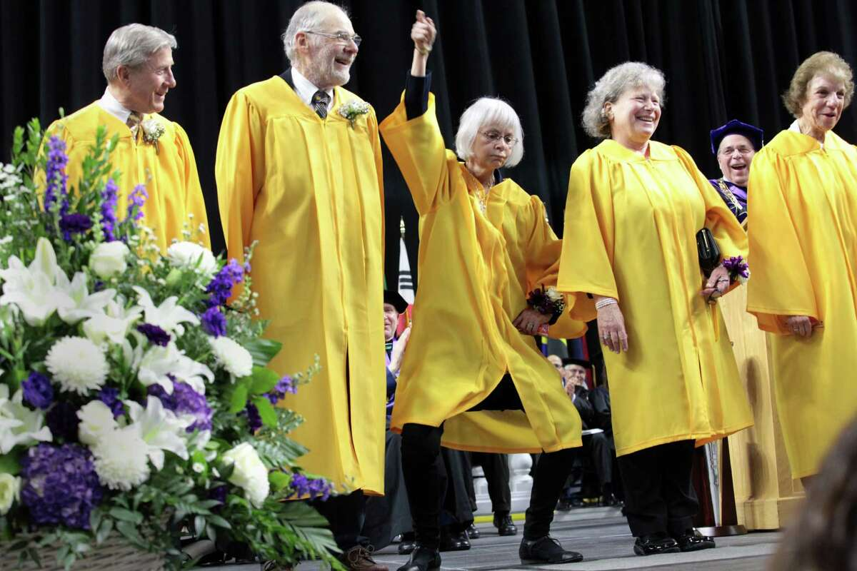 The Golden Knights take the stage during the University of Bridgeport 's 106th Commencement Ceremony at the Webster Bank Arena, in Bridgeport, Conn. on Saturday, May 7, 2016.