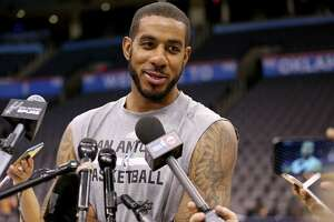 San Antonio Spurs' LaMarcus Aldridge answers questions from the media during practice Saturday May 7, 2016 at Chesapeake Energy Arena in Oklahoma City, Oklahoma.