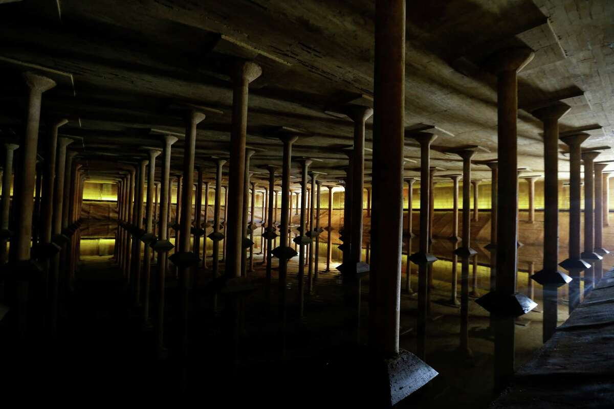 The inside of the Buffalo Bayou Park Cistern is shown Monday, April 25, 2016, in Houston. Built in1927, it was the City of Houstoné?•s first underground drinking-water reservoir- a concrete holding tank roughly the size of one and half football fields on Sabine Street, near Buffalo Bayou. ( Melissa Phillip / Houston Chronicle )