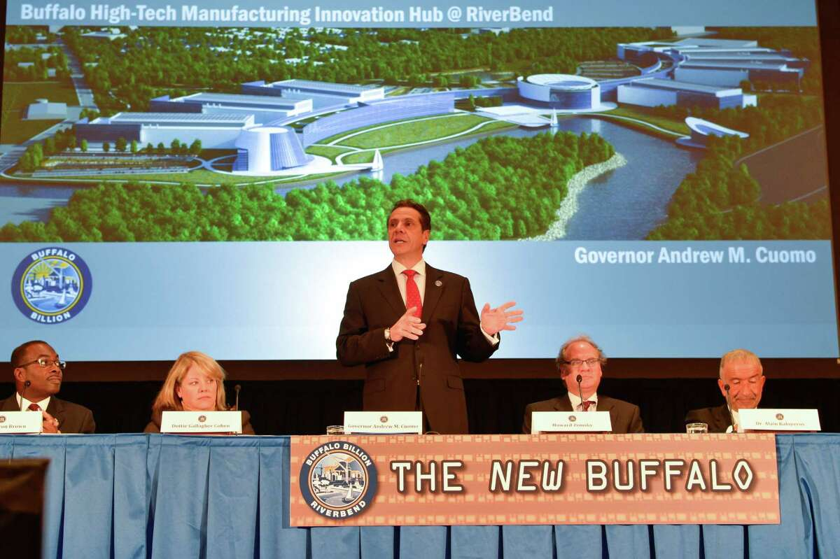 Gov. Andrew Cuomo announces that part of his Buffalo Billion initiative New York State will build a state-of -the -anchor hub facility for high tech and green energy businesses at Riverbend in the city of Buffalo on Nov. 21, 2013, during an announcement in Buffalo, N.Y. (Office of the Governor)