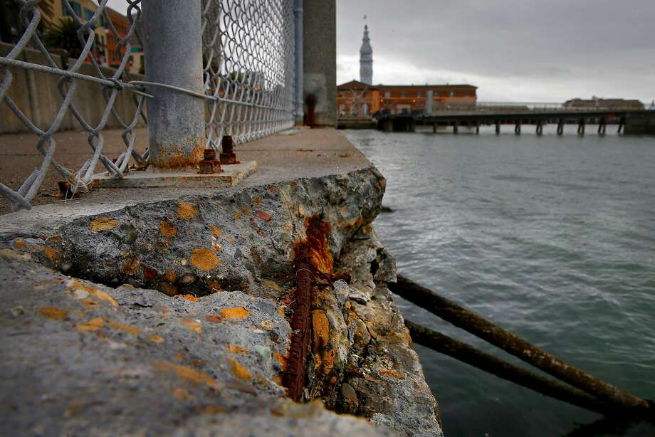 The sea wall in need of repairs along the Embarcadero between Howard and Mission Streets in San Francisco last year. Photo: Michael Macor, The Chronicle