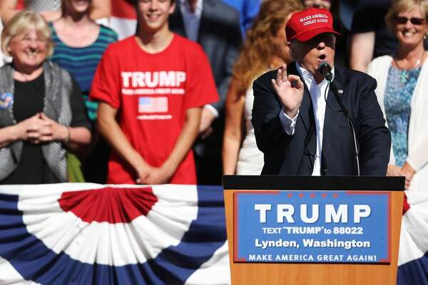 Republican presumptive presidential nominee Donald Trump speaks to a crowd at a campaign rally in Lynden, Washington on Saturday, May 7, 2016.