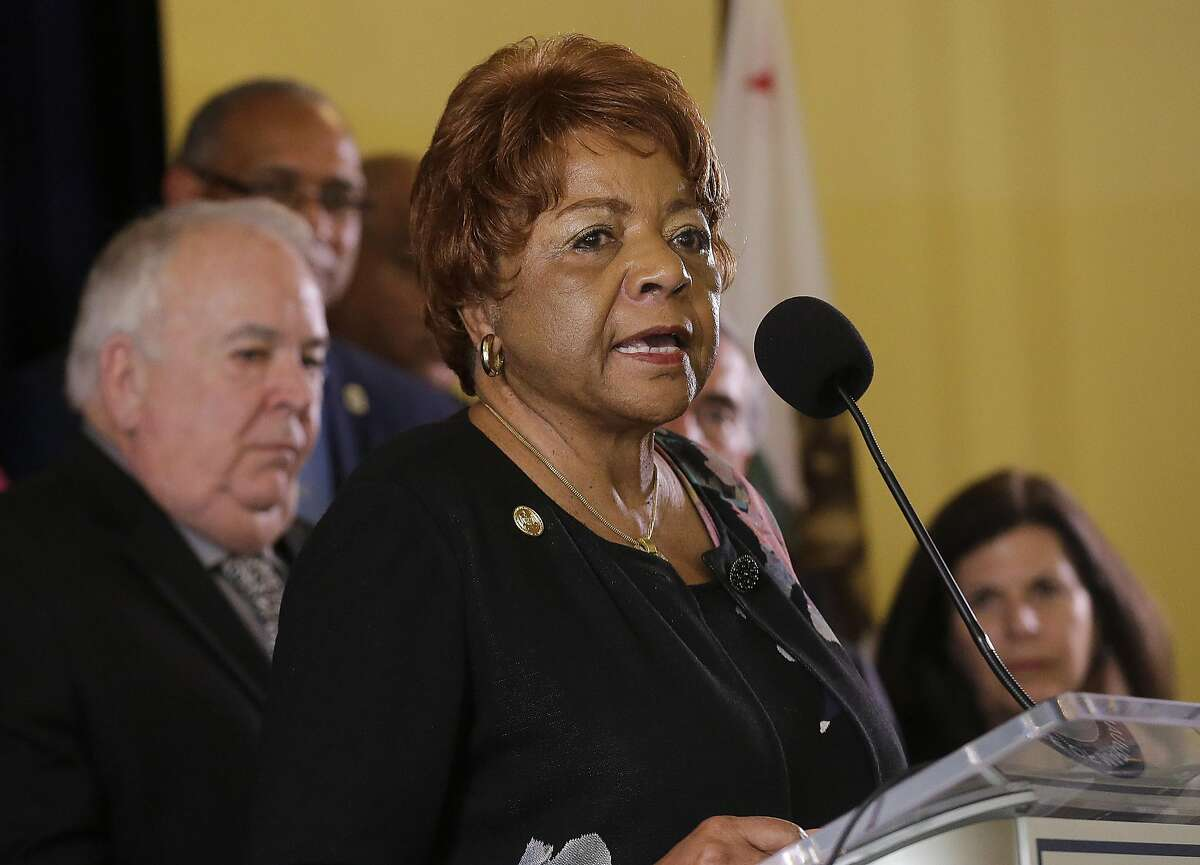 Alice Huffman, President of the California NAACP, speaks at a news conference in support of the Adult Use of Marijuana Act ballot measure in San Francisco, Wednesday, May 4, 2016.