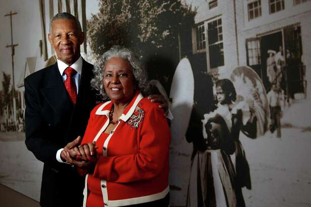 Rev. William A. Lawson and wife Audrey Lawson are photographed in one of the exhibits at The Gregory Library which they have given 600 of their 1950's love letters on Friday, May 13, 2011, in Houston.  ( Mayra Beltran / Houston Chronicle )