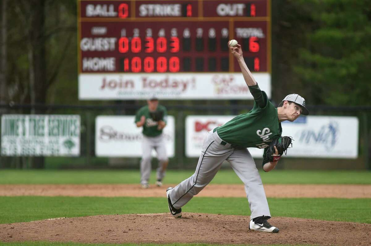 Shenendehowa pitcher Ian Anderson winds up the pitch during their baseball game against Colonie on Saturday, May 7, 2016, at Cook Park in Colonie, N.Y. MLB scouts were at the game to watch Anderson and clock the speed of his pitches. (Cindy Schultz / Times Union)