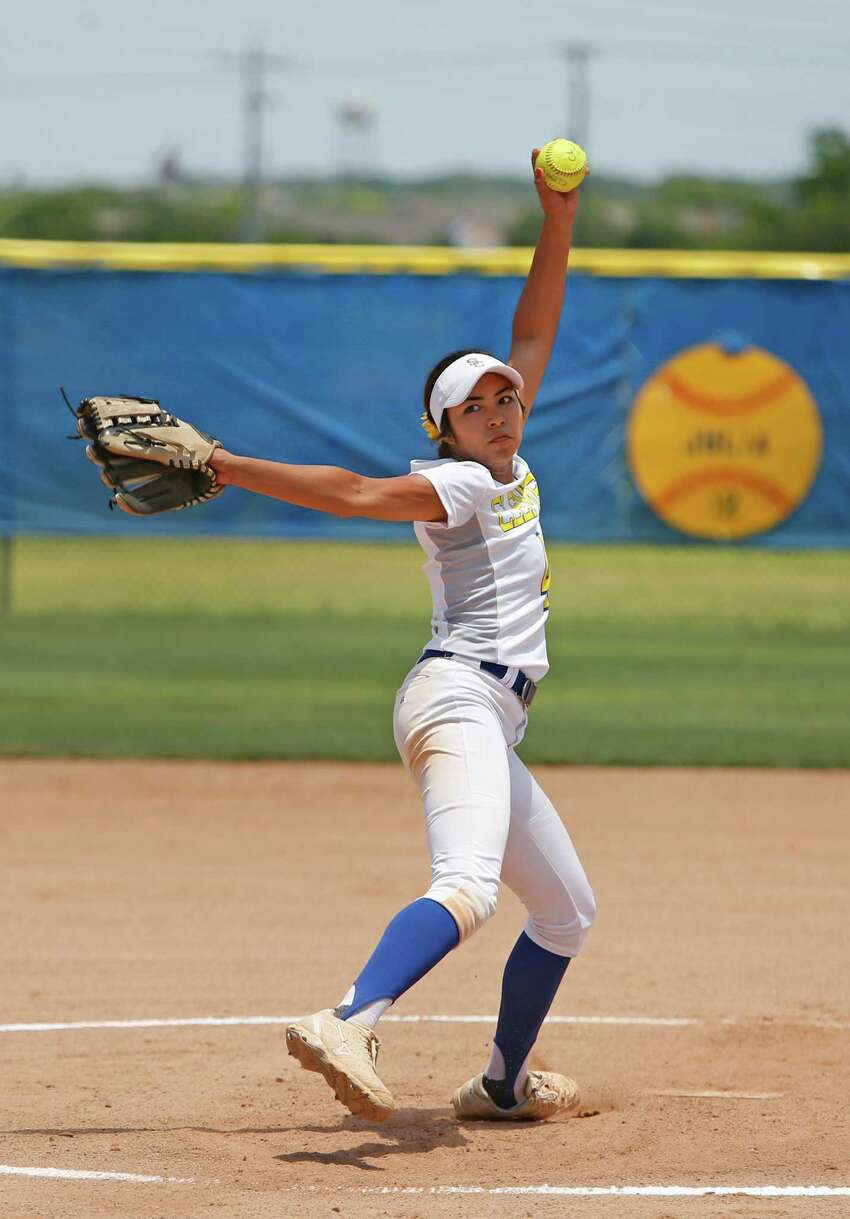 Clemens pitcher Joanna Valencia pitches against Corpus Christi Carroll in Game 2 of a best-of-three Class 6A second-round softball playoff series between Clemens and Corpus Christi Carroll at Shelton Complex on Saturday, May 7, 2016