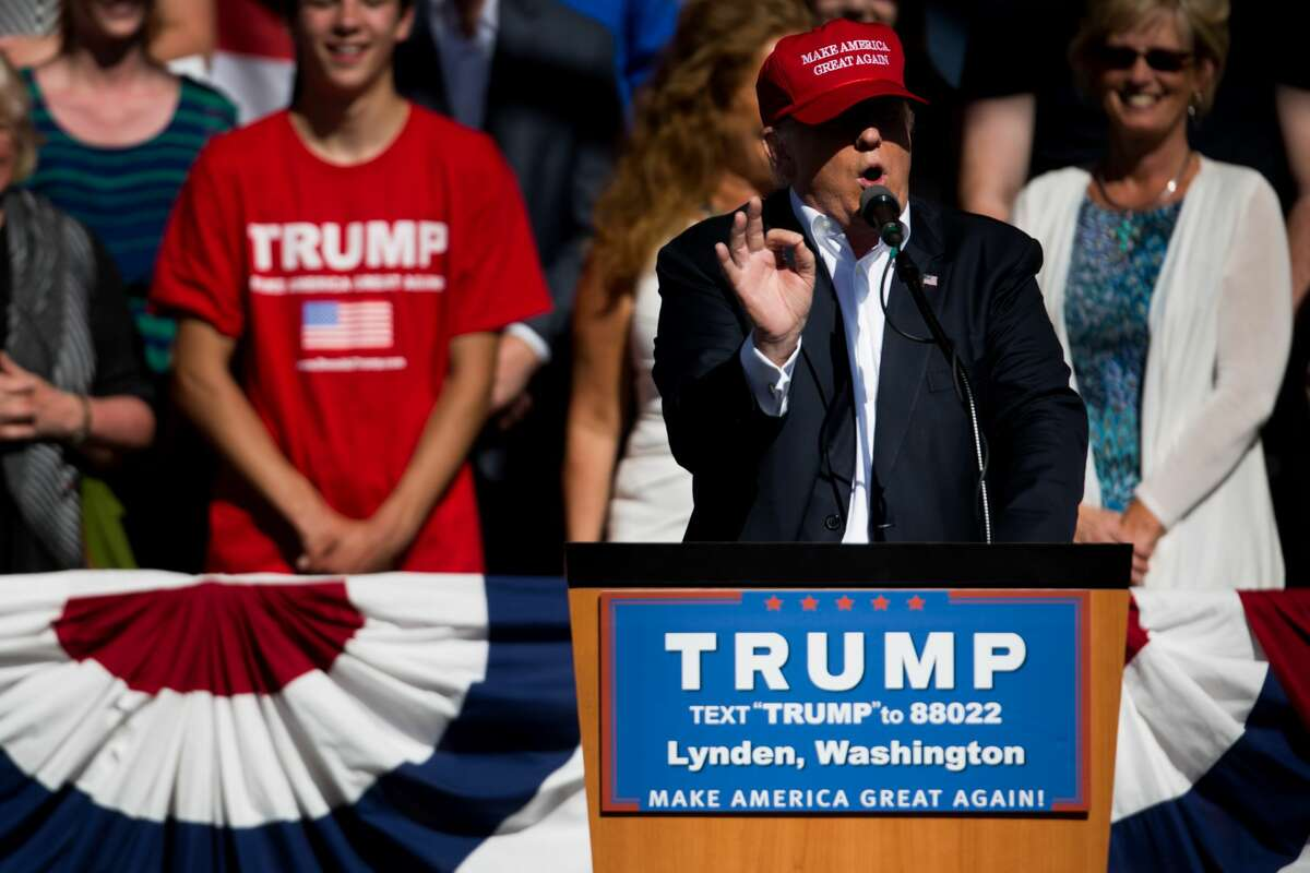 Republican presidential candidate Donald Trump speaks during a rally at the Northwest Washington Fair and Event Center in Lynden, Wash. on Saturday, May 8, 2016. In the third year of his presidency, Trump holds onto a