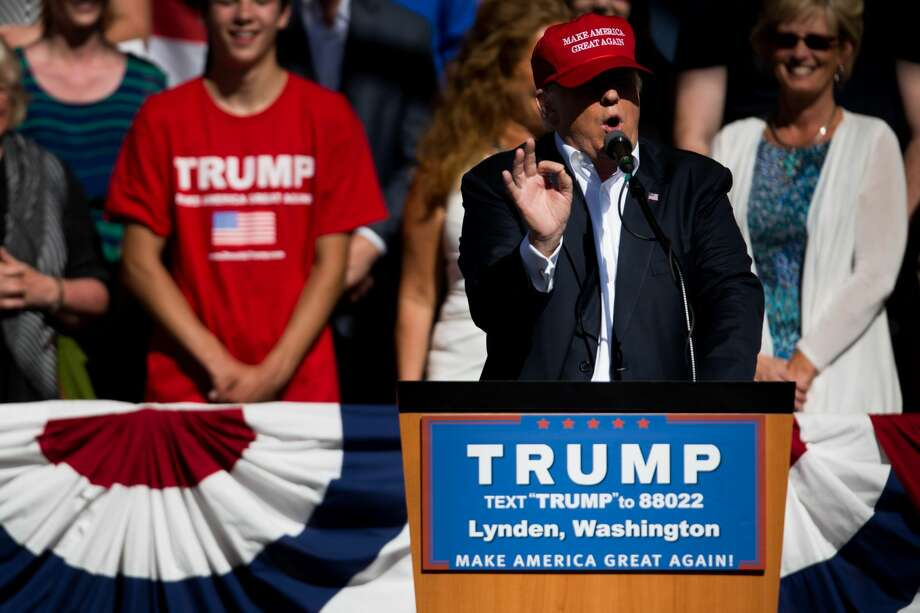 Republican presidential candidate Donald Trump speaks during a rally at the Northwest Washington Fair and Event Center in Lynden, Wash. on May 8, 2016. He drew record crowd in town just south of Canadian border. (GRANT HINDSLEY, seattlepi.com) Photo: SEATTLEPI.COM, GRANT HINDSLEY