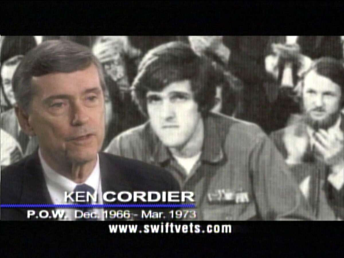 """A frame grab shows Vietnam war-era Swift boat veteran Ken Cordier speaking during a television commercial over Democratic presidential candidate John Kerry's war record. Kerry asked the Federal Election Commission August 20, 2004, to force Republican critics to withdraw ads challenging his military service, and accused the Bush campaign of illegally helping coordinate the attacks. The Kerry campaign said it filed the complaint against the group behind the ads, Swift Boat Veterans for Truth, """"for violating the law with inaccurate ads that are illegally coordinated with the Bush-Cheney presidential campaign and Republican National Committee."""" The campaign said there is """"overwhelming evidence"""" that the group is coordinating its spending on advertising and other activities with President George W. Bush's campaign for reelection. REUTERS/HO/Swiftvets.com U.S. ELECTION. HOUCHRON CAPTION (08/22/2004): CORDIER."""