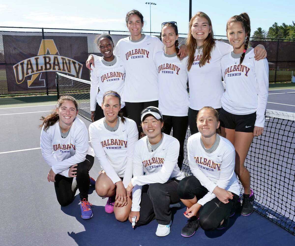 Members of the University at Albany tennis team during their