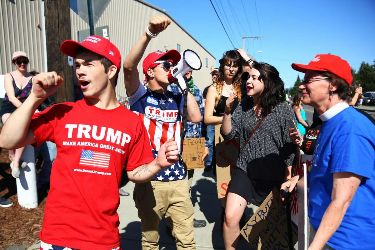 Trump supporters at 2016 rally in Lynden. The President is rallying his base, as he trails prospective Democratic challengers in the polls.