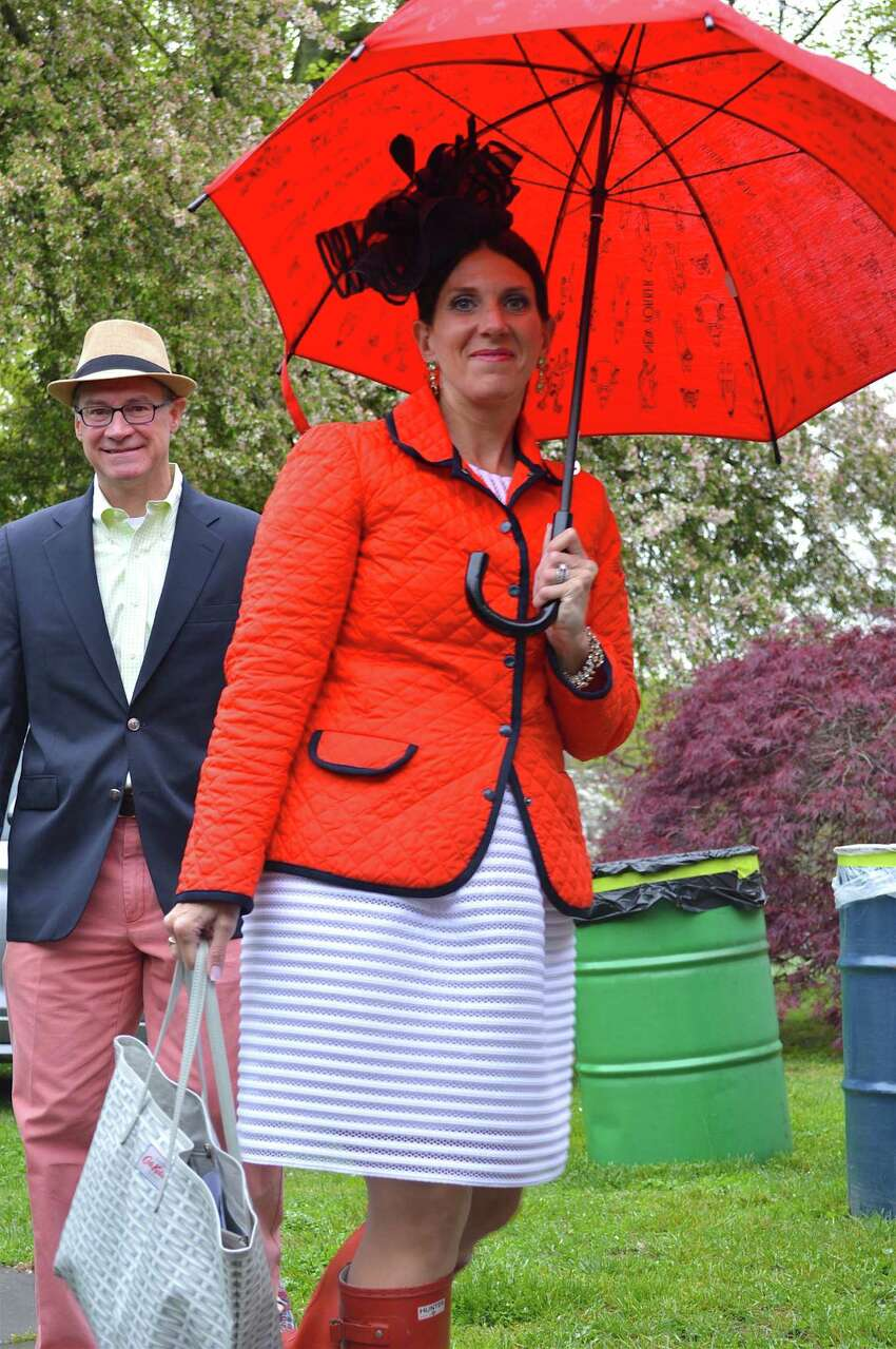 Samantha and Phil Collin arrive for Saturday's Derby Day party at the Pequot Library.