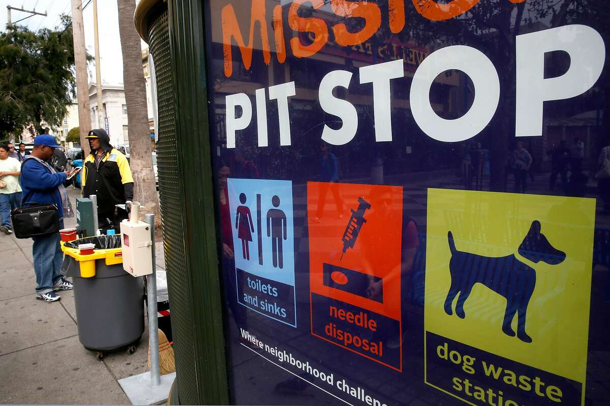 The San Francisco Department of PUblic Health has a Pit Stop on the plaza of the 16th St. BART station where pepole can leave used needles or use the bathroom facilities in San Francisco, California, on Thurs. May 5, 2016. The SFPD along with BART Police are preparing to launch a new program that will offer those about to be arrested or cited for drug possession the chance to go through a treatment program instead of facing the criminal justice system.