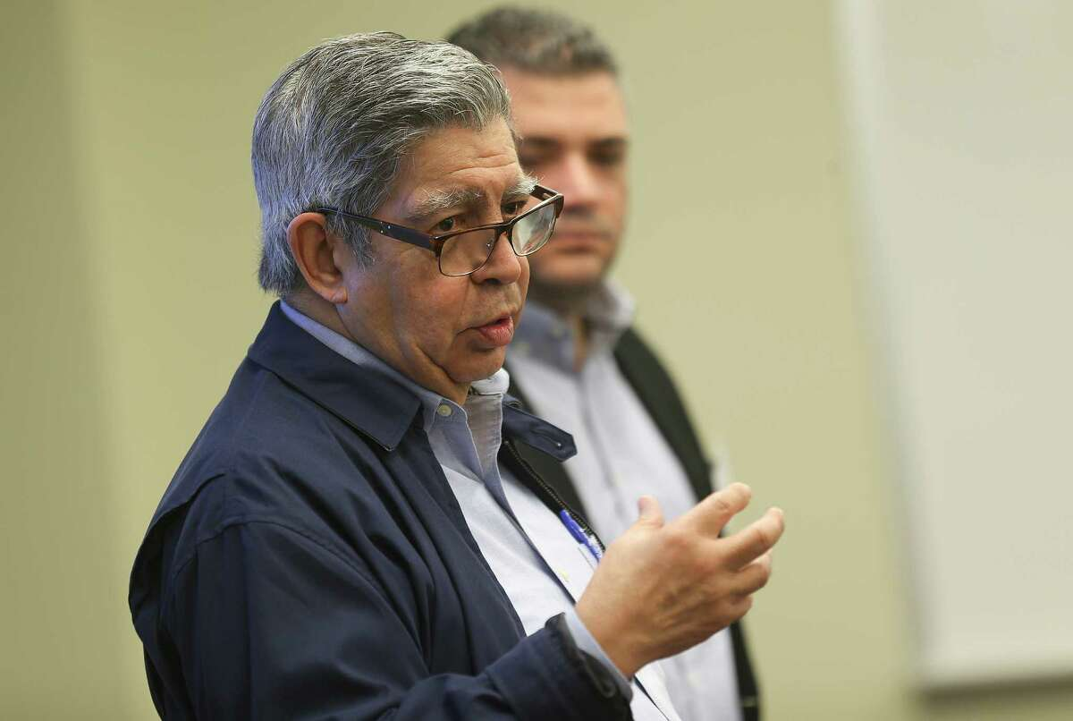 Panamanian ambassador Juan B. Sosa talks with attendees at a meeting with Port Freeport on Tuesday, April 19, 2016, in Freeport.