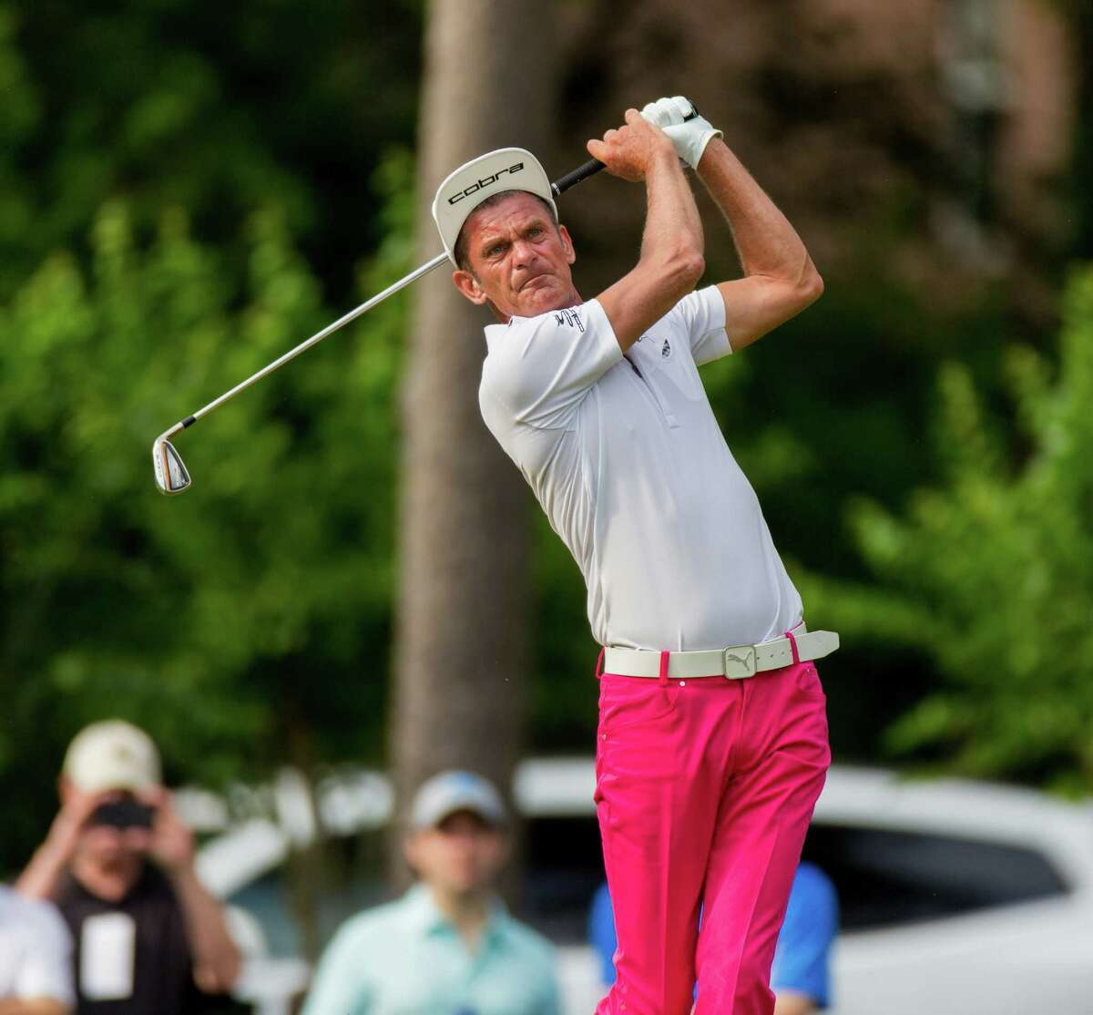 Golfer Jesper Parnevik follow through on hole-17 during Round 3 of the Insperity Invitational Golf at the Woodlands Country Club, Sunday, May 8, 2016, in Houston. (Juan DeLeon / For the Houston Chronicle)