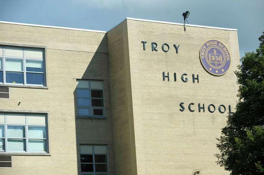 Exterior of Troy High School on Wednesday, Aug. 12, 2015 in Troy, N.Y. (Lori Van Buren / Times Union)