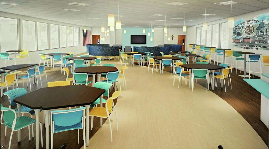 Rendering Of A Student Commons Is Displayed In The Hallway At Academy Holy Names