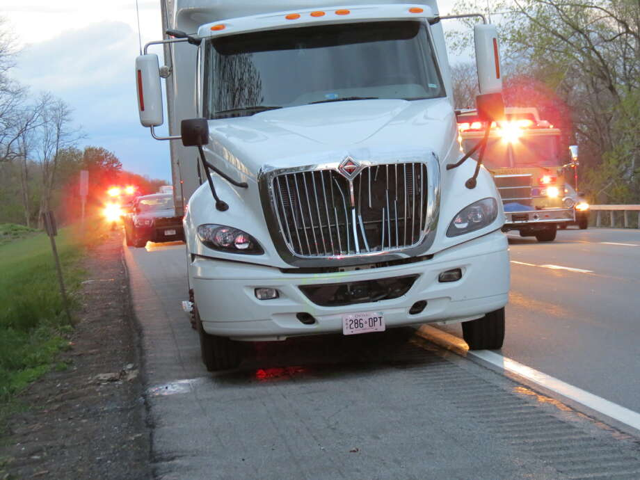 Photo by Tom Heffernan Sr. Fatal pedestrian accident around 8 p.m. on  I-87 south just north of exit 2 W.   It involved a semi tractor-trailer and a pedestrian walking along the roadway.  Traffic was at a standstill southboard on the highway.