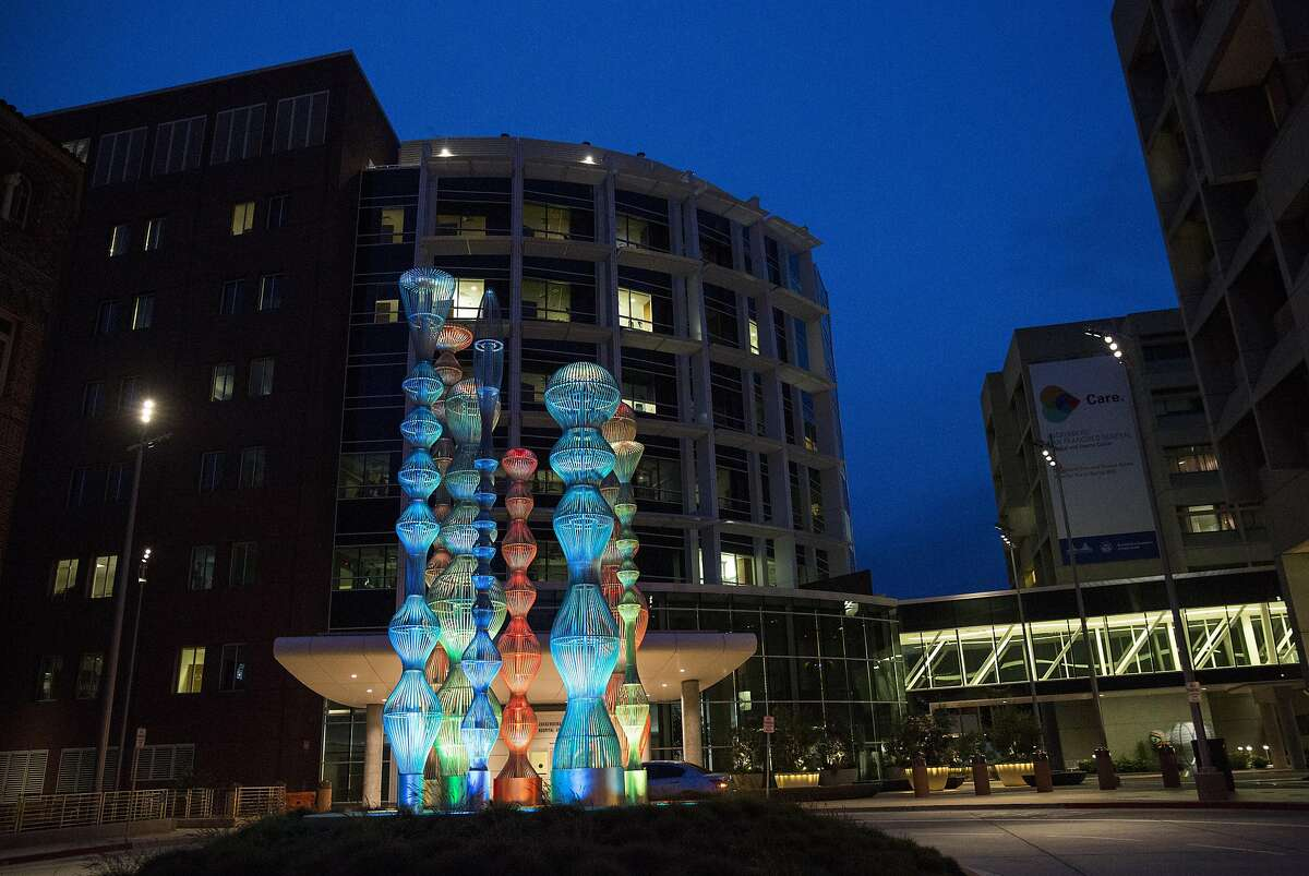 A sculptural piece by artist Cliff Garten is seen outside the new Zuckerberg San Francisco General Hospital and Trauma Center is seen in San Francisco, Calif., on Tuesday, April 26, 2016.Citing Facebook's mishandling of user privacy and its use of an opposition research firm to discredit critics, San Francisco Supervisor Aaron Peskin is pushing to remove Mark Zuckerberg's name from the city's public hospital.