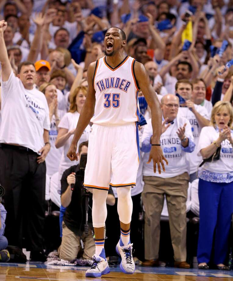 1. Kevin Durant went offThe Thunder's All-Star forward matched his career high with 41 points and he personally outscored the Spurs 17-16 in the fourth quarter. Several of the shots were contested by NBA Defensive Player of the Year Kawhi Leonard, but Durant outplayed him Sunday night. Heck, even drew his first charging call of the season when Leonard ran over him en route to the basket. Photo: San Antonio Express-News