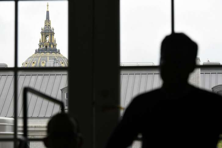 City Hall's minaret is seen from a window in the future home of the Superpublic lab at 50 United Nations Plaza in San Francisco, CA, Friday, May 6, 2016.   San Francisco and partners are building a 5,000 square foot innovation lab called Superpublic aimed at bringing together private industry, nonprofits and universities with federal, state and city government reps to tackle urban problems.