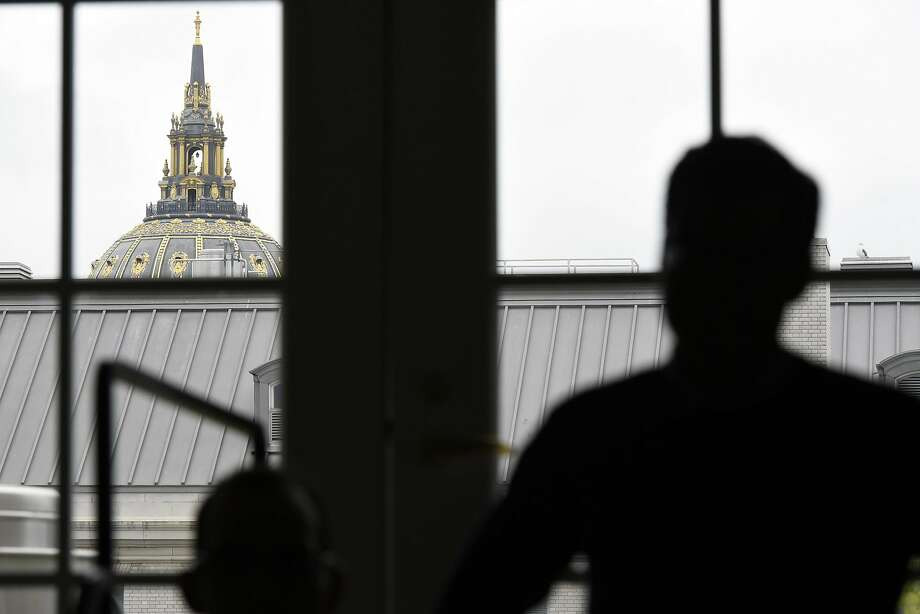 City Hall's minaret is seen from a window in the future home of the Superpublic lab at 50 United Nations Plaza in San Francisco, CA, Friday, May 6, 2016.   San Francisco and partners are building a 5,000 square foot innovation lab called Superpublic aimed at bringing together private industry, nonprofits and universities with federal, state and city government reps to tackle urban problems. Photo: Michael Short, Special To The Chronicle