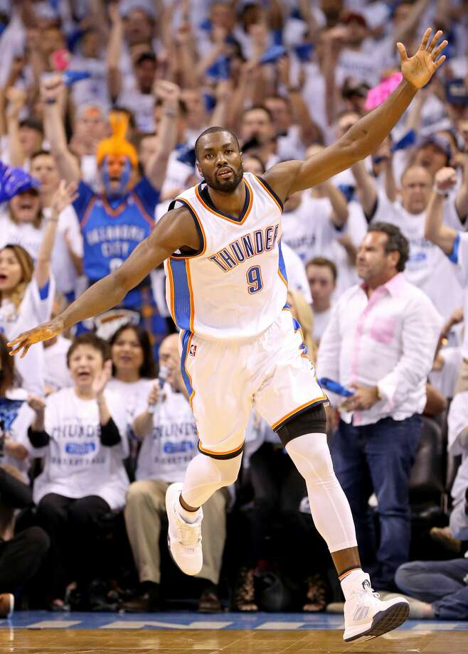 Oklahoma City Thunder's Serge Ibaka celebrates after a basket during first half action of Game 4 in the Western Conference semifinals against the San Antonio Spurs Sunday May 8, 2016 at Chesapeake Energy Arena in Oklahoma City, Oklahoma. Photo: San Antonio Express-News