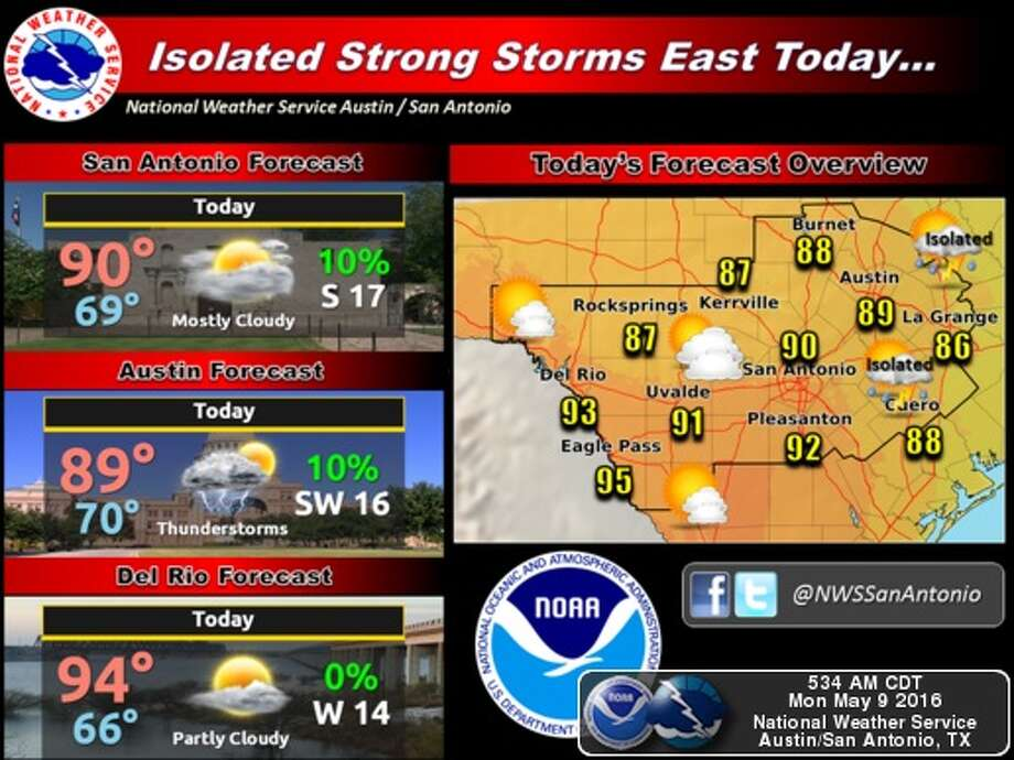 Severe storms could hit San Antonio on Tuesday, according to the National Weather Service. Photo: National Weather Service