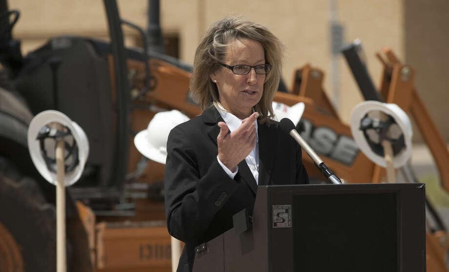 Presiding Judge Sharon Hatten speaks Monday, 4-20-15, during the ground breaking ceremony for the new Municipal Court she will manage. Tim Fischer\Reporter-Telegram Photo: Tim Fischer