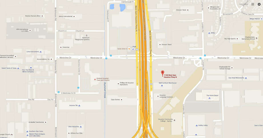 An overhead map of the 1100 block of West Sam Houston Parkway North. Houston Police investigators discovered a woman's body at a refuse transit station in the area on May 9, 2016. Photo: File/Google