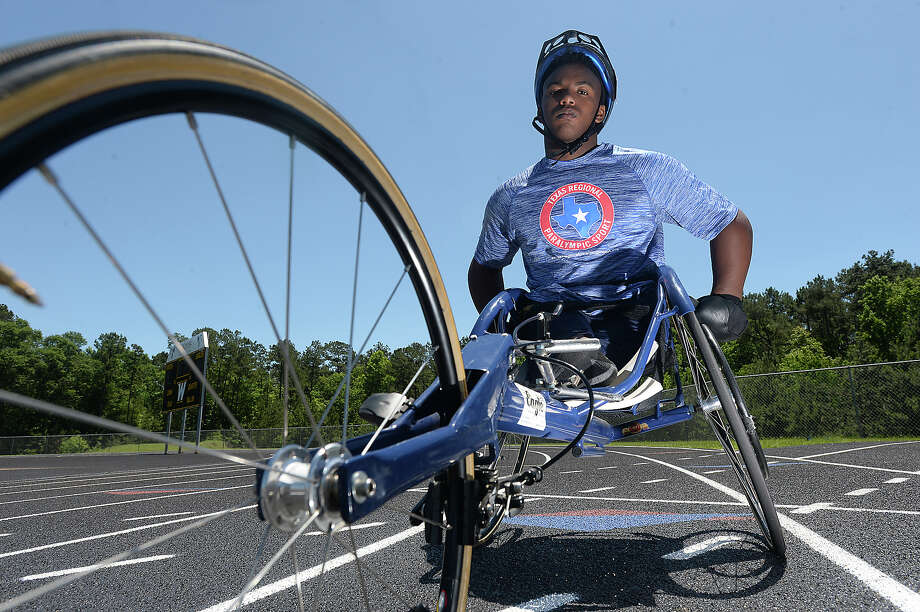 "Woodville freshman Carrington Marendes will be competing in the track and field state championships in Austin next weekend, taking part in the 100 and 400-meter races, as well as shot-put. Born without femur bones, Carrington has been in a wheelchair his whole life, but the disability that got him down when he was younger hasn't stopped him from joining the legacy of his older brothers in becoming a star athlete. ""As I got older, I realized that I can do a whole bunch of things if I put my mind to it,"" he says. His love of sports and faith have been a source of inspiration, and he is now not only a competitive force on the track, but in basketball, as well. And for those who know him, he has become a source of inspiration to never give up on their own dreams. ""I don't say I'm handicapped, I say handicapable. I'm handicapable of being me and doing the things I want to do."" Photo taken Tuesday, May 3, 2016 Kim Brent/The Enterprise Photo: Kim Brent / Beaumont Enterprise"