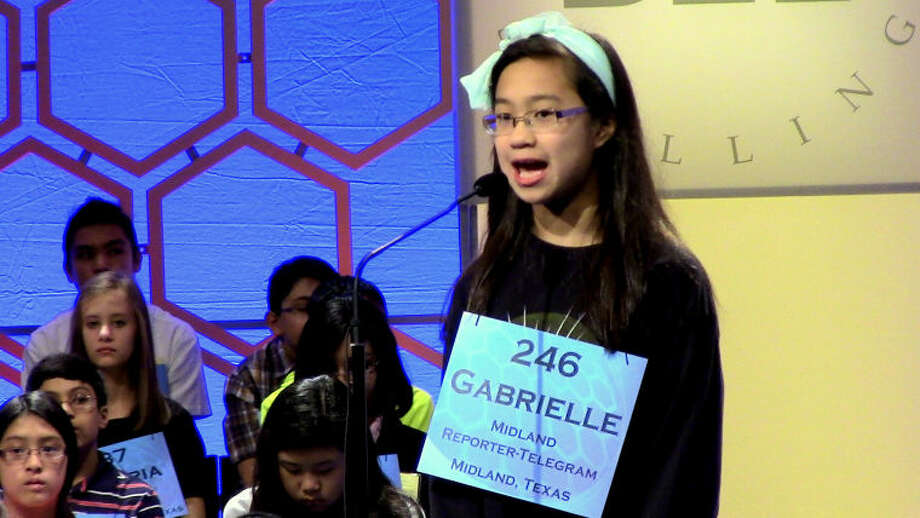 "Gabrielle Marie Rubio of Midland, Texas, advanced to the second round of the oral spelling competition in the 89th annual Scripps National Spelling Bee on Wednesday morning by correctly spelling ""kishke.'' Gabrielle, wearing a mint green head band and matching slacks, paused only to ask the definition of the word (a food consisting of a stuffed intestine) before reciting ""k-i-s-h-k-e.'' Photo: Picasa"