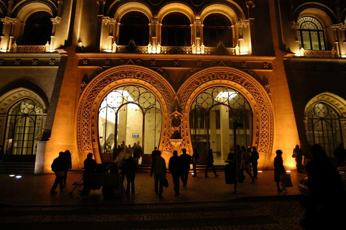 Downtown Lisbon is a wealth of grand design, including the distinct entrance to the Estacio do Rossio (Rossio train station).
