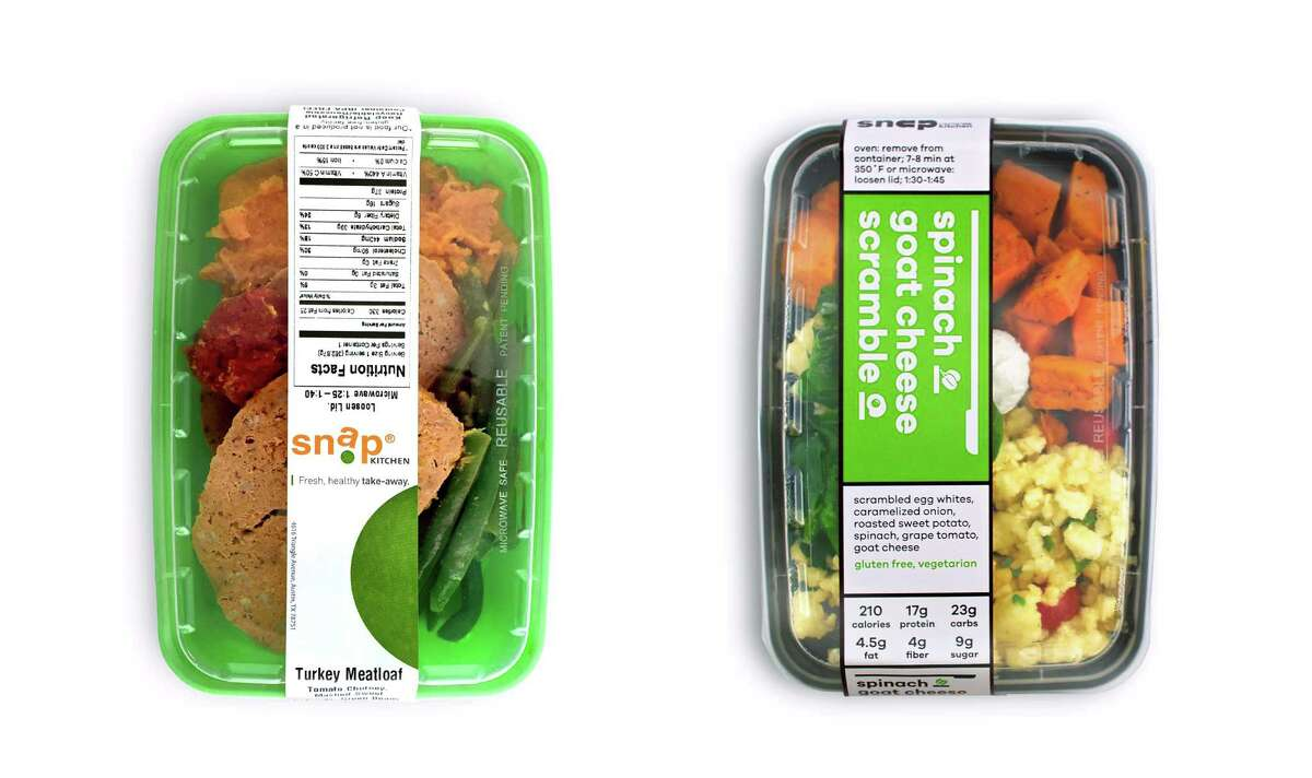 Snap Kitchen has rebranded itself with new store redesigns,a modernized logo, and new packaging. Shown: old packaging on the left, new packaging on the right.