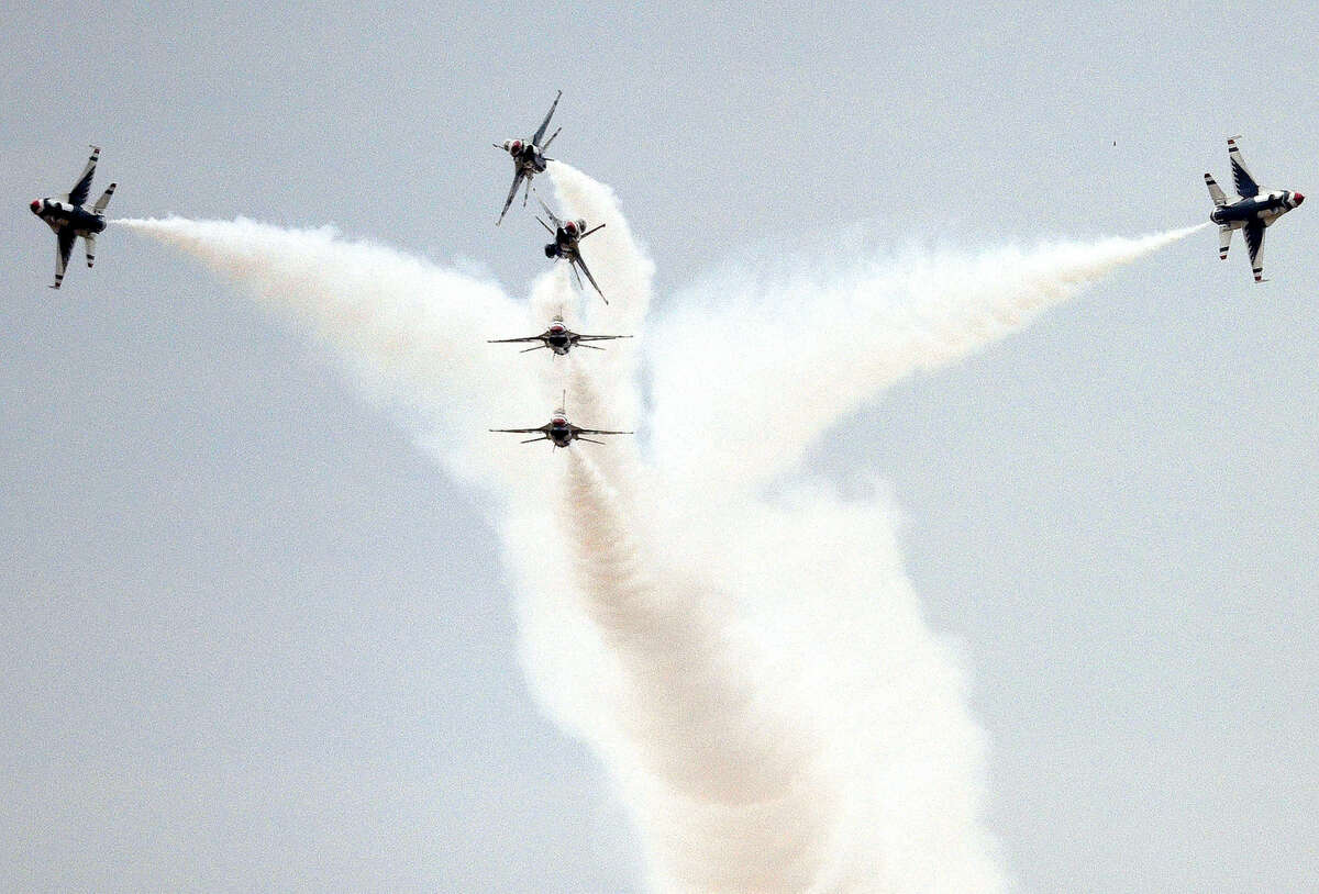 The United States Air Force Thunderbirds demonstration team performs during AirSho 2015. This weekend, AirSho returns to Midland.