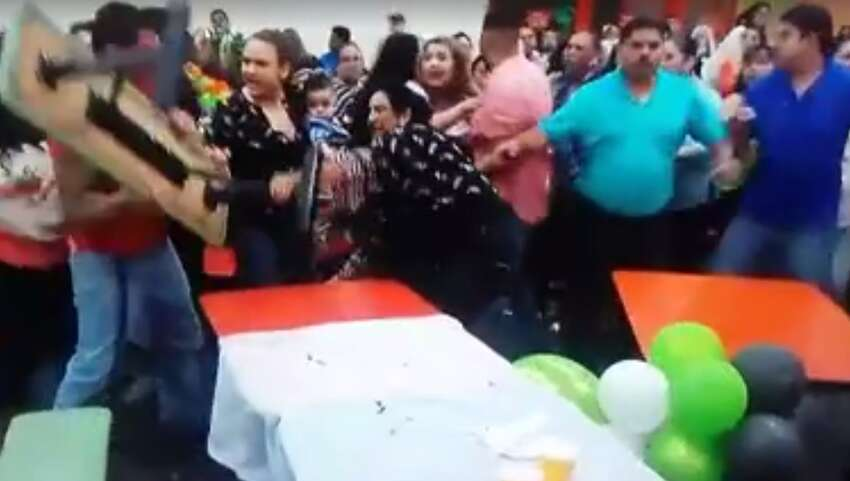 Viral Facebook video shot inside a Laredo Peter Piper Pizza on May 6, 2016, shows a fight Laredo Police Department was sparked by family issues and did not result in charges.